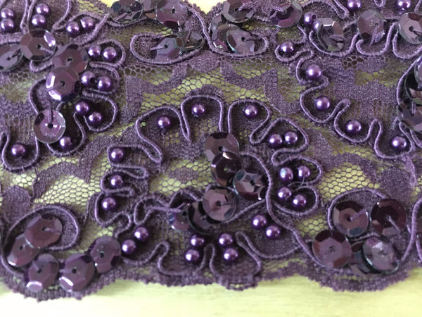 Purple Re-Embroidered Beaded lace trim