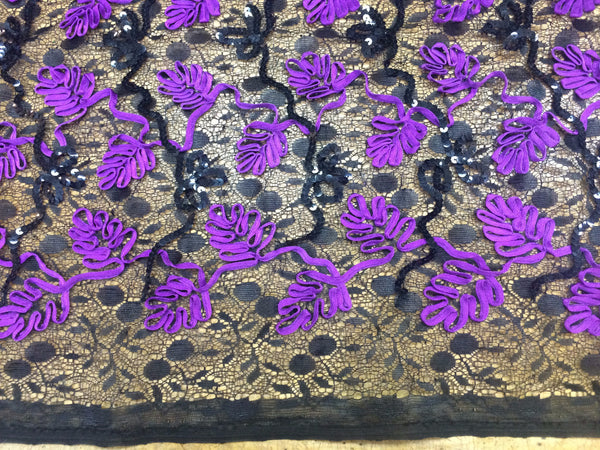 Black Floral Lace with Black Sequin and Purple Ribbon