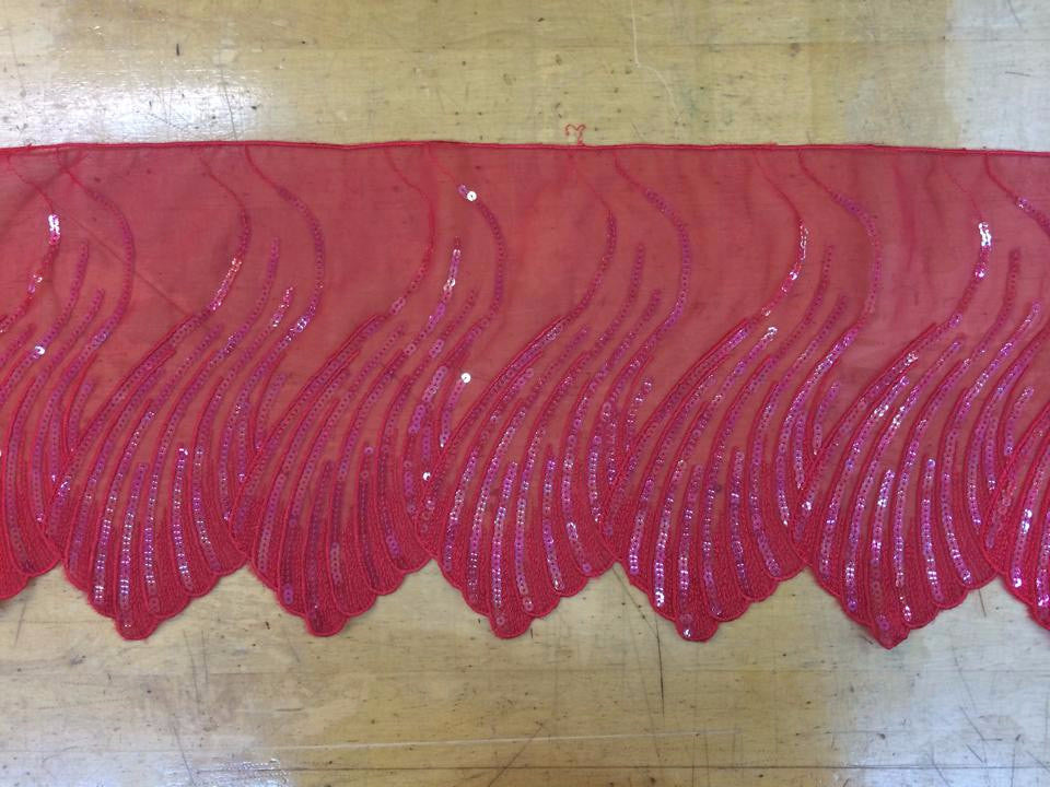 Red Scalloped Sequin Border