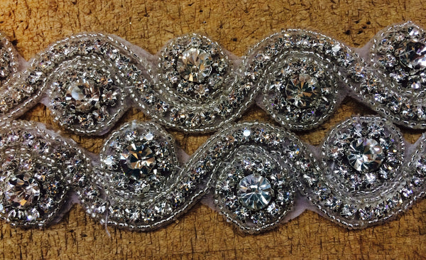 Rhinestone Trim with modern swirl design