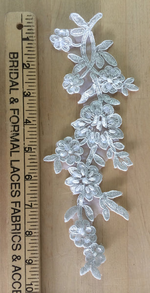 Silver Beaded Applique with silver metallic threading