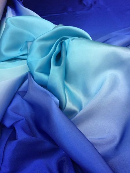 Ombre Charmeuse Color Royal-Turquoise-Royal