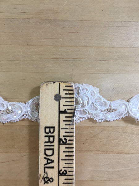 White Re-Embroidered Beaded lace trim