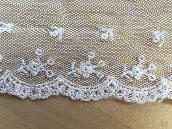 White Embroidered Net Lace Trim