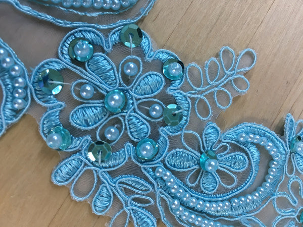 Aqua Blue Beaded Applique