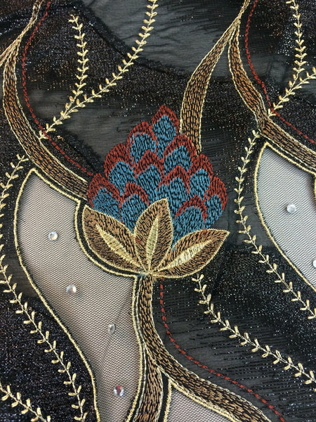 Embroidered Black Chiffin with Red and Rlue Floral Design