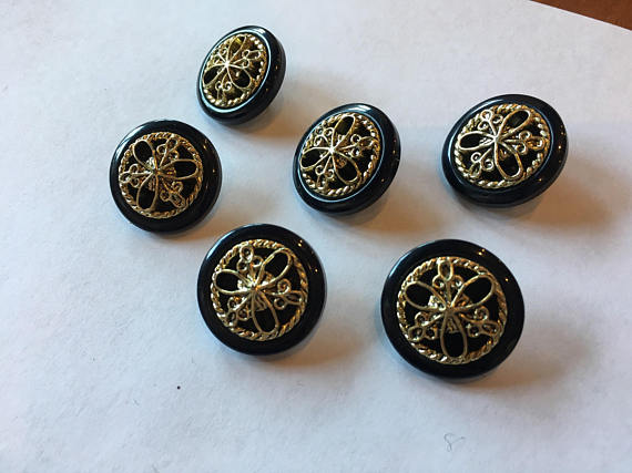 Medium black andgold sewing buttons 19 mm 3/4 inch sewing buttons, 6 vintage, plastic buttons
