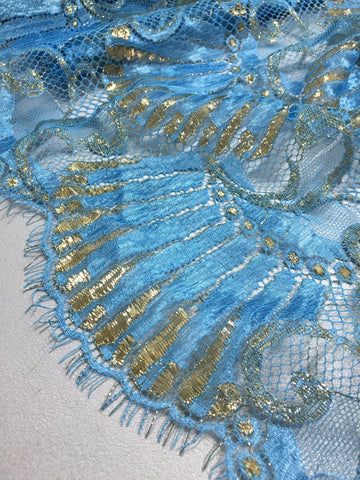 Blue and Gold Chantilly lace