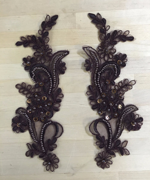 Chocolate Brown Beaded Applique