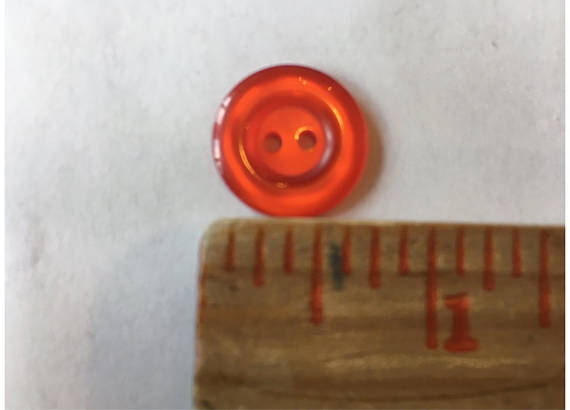 Small red coral sewing buttons 16 mm 5/8 inch sewing buttons, 6 vintage, plastic buttons.