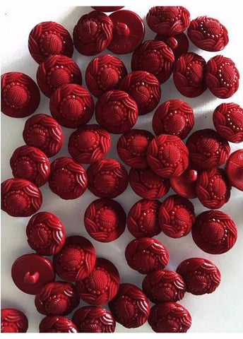 Medium deep red buttons 23 mm 7/8 inch sewing buttons, 6 vintage, plastic buttons