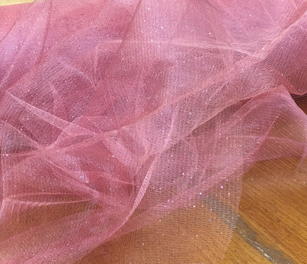 Dusty Rose Glitter Tulle
