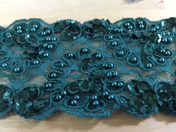 Emerald Re-Embroidered Beaded lace trim-