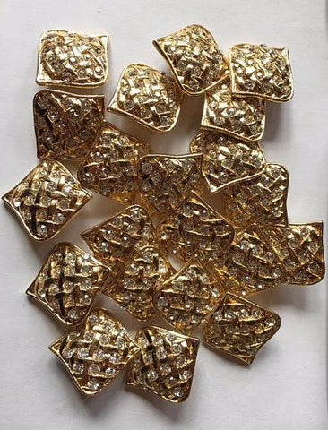 Medium gold metal button with rhinestone accent, 24 mm 7/8 inch sewing buttons, 6 vintage,