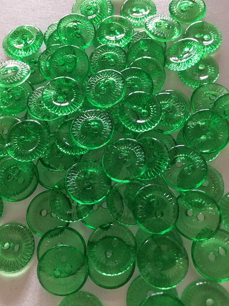 Small clear green buttons 16 mm 5/8 inch seeing buttons, 12 vintage, plastic buttons