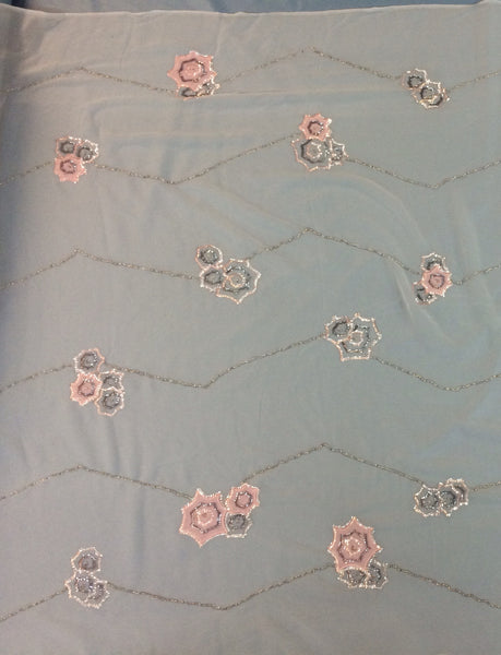 Grey Chiffon with Pink floral embellishment