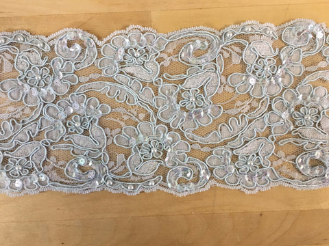 Blue grey Re-Embroidered lace trim