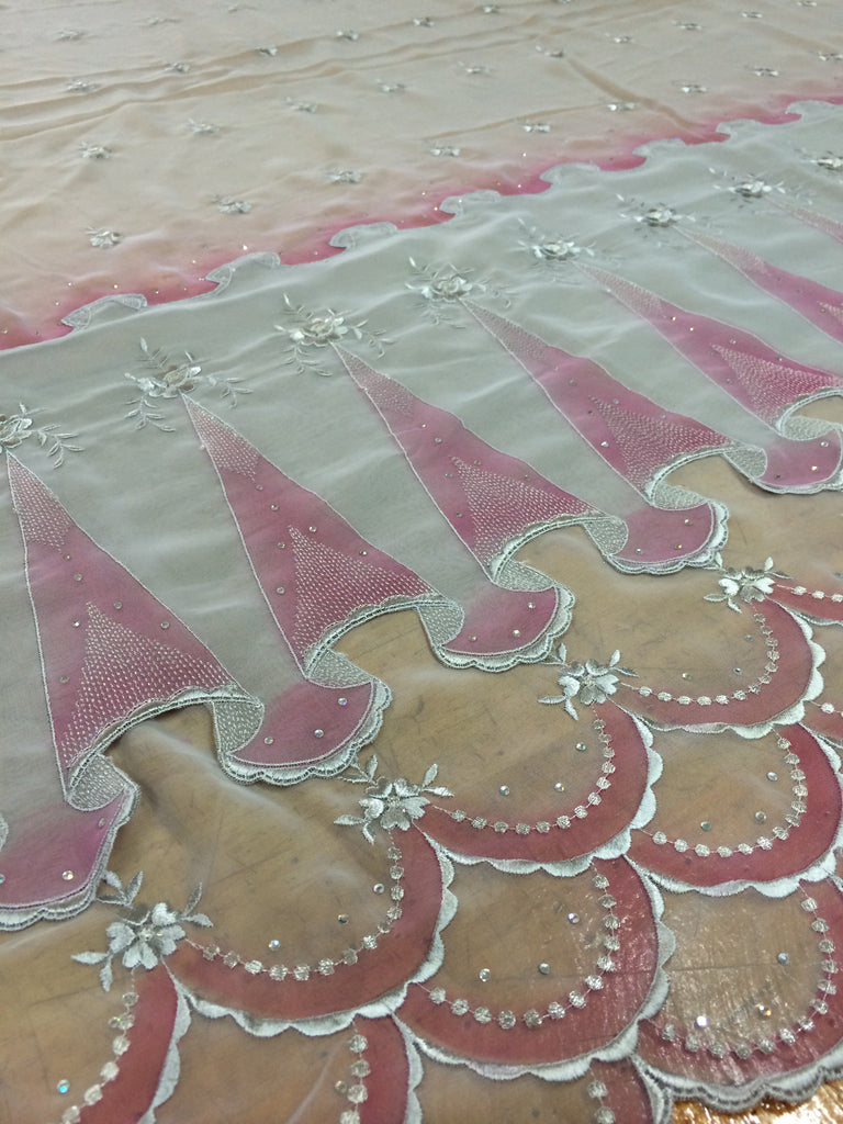 Grey Emboridered Chiffon Lace Printed with Pink Magenta with crystals