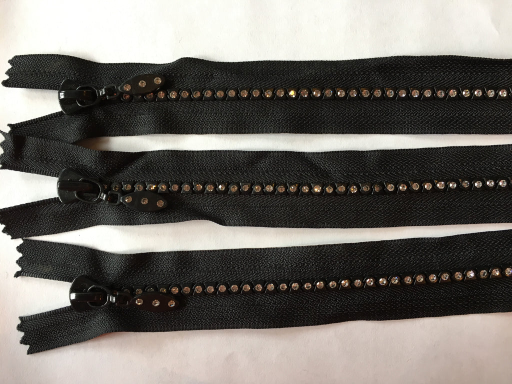 "3 black rhinestone 8"" zippers"