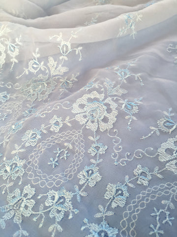Blue embroidered lace chiffon