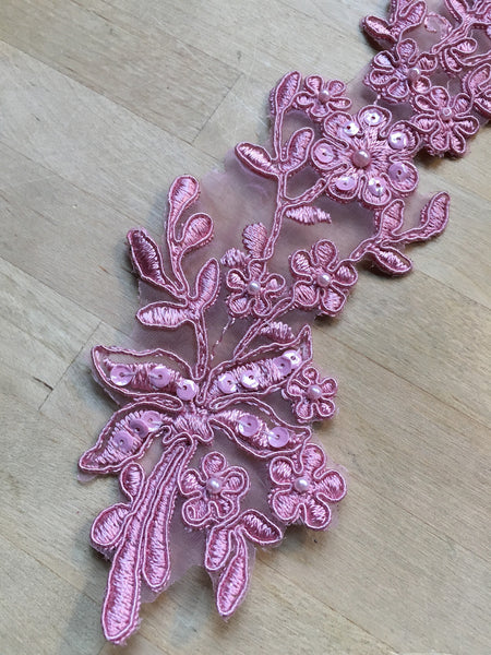 Dusty Rose Beaded Appliqué