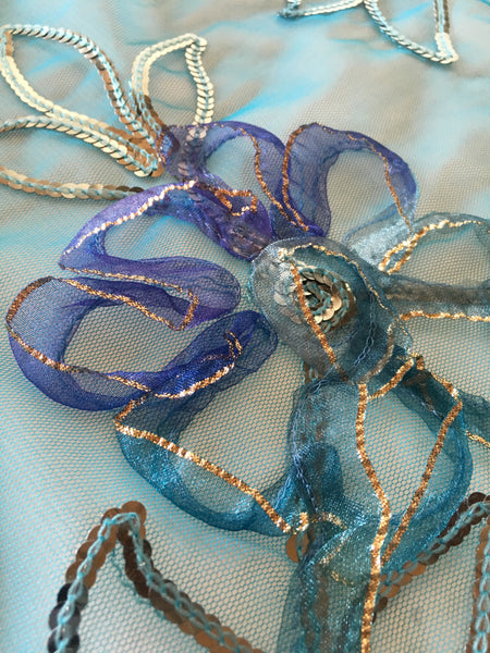 Turquoise Floral Ribbon lace with sequin on netting