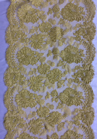 "13"" French Alencon Lace Trim Color: Citron"