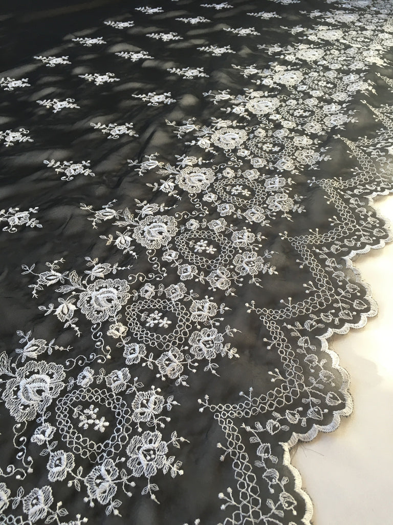 Black Embroidered Chiffon Lace