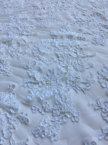 "72"" French Beaded Alencon Lace Trim Color: White"