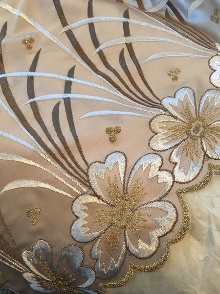 Embroidered Taupe light weight dull satin with Ivory Floral Design