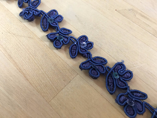 Indigo blue Floral Re-embroidered sequin Trim-