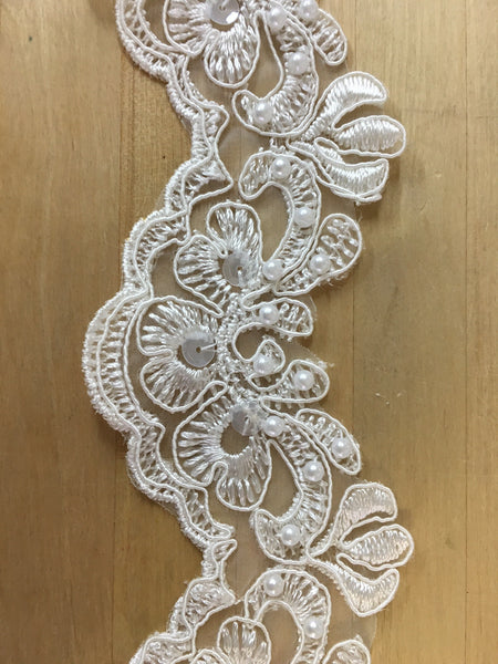 Ivory Beaded Trim Re-Embroidered on organza