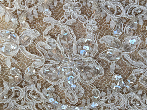 Ivory beaded lace trim