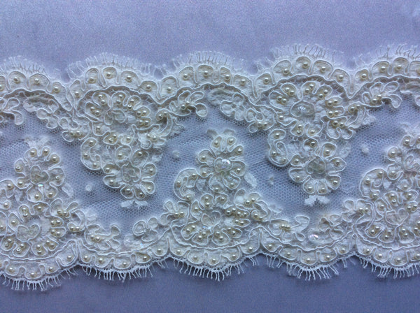 "4"" French Beaded Alencon Lace Trim Color: Ivory"