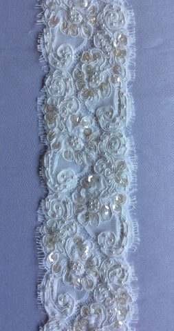 "3"" French Beaded Alencon Lace Trim Color: Ivory"