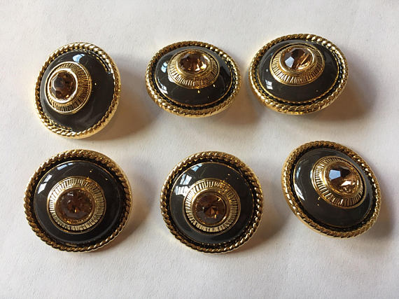 Medium gold metal button with Rhinestone center, 26 mm 1 inch sewing buttons, 6 vintage,