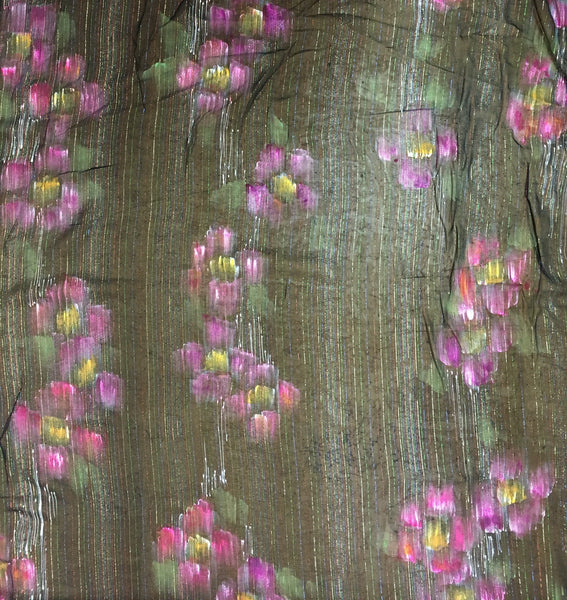Silk Chiffon Hand Panted Print with Metallic embellishment