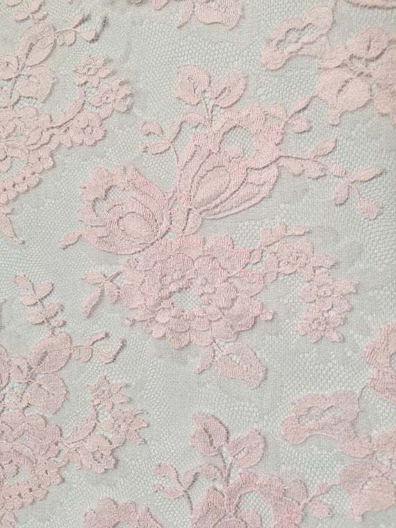 "36"" Pink Chantilly lace with scalloped Border"