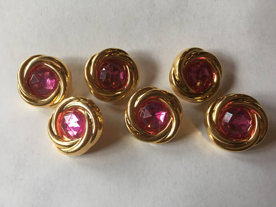 "Medium Pink and gold sewing buttons 26 mm 1"" inch sewing buttons, 6 vintage, plastic buttons, with pink Geodesic Gem Cut"