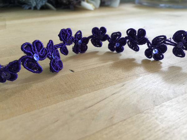 Purple Floral Re-embroidered sequin Trim