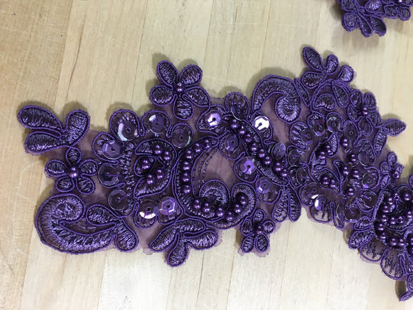 Purple Beaded Applique