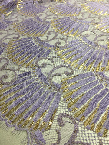 Lavender and Gold Chantilly lace