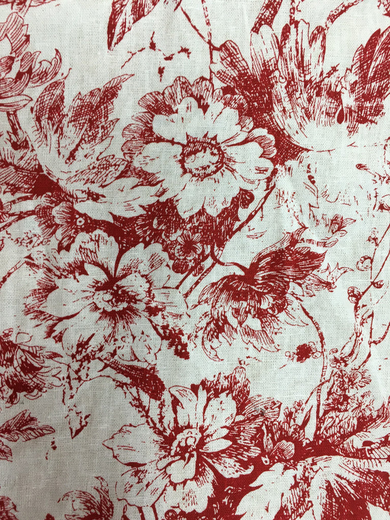 White Cotton with Red Floral print