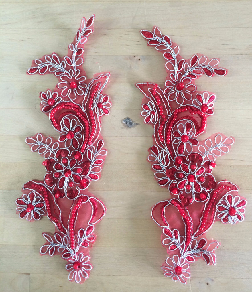 Red/Silver Beaded Appliques