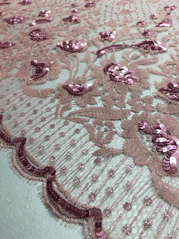 Rose Pink and Silver Chantilly lace