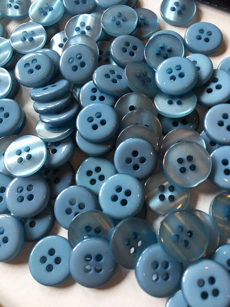 Small blue buttons 14 mm 1/2 inch seeing buttons, 12 vintage, plastic buttons