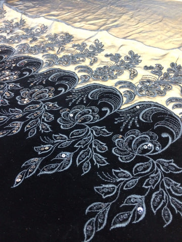 Velvet Sequin Lace border on chiffon