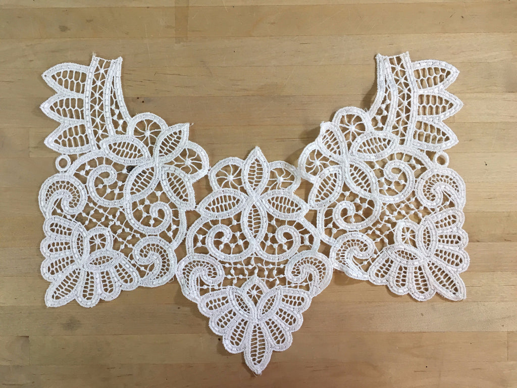 White Battenburg Lace Collar Applique