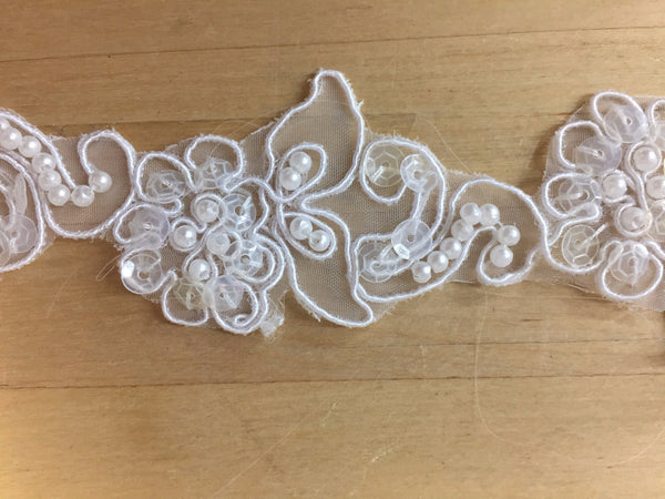 White Floral Re-embroidered Trim-