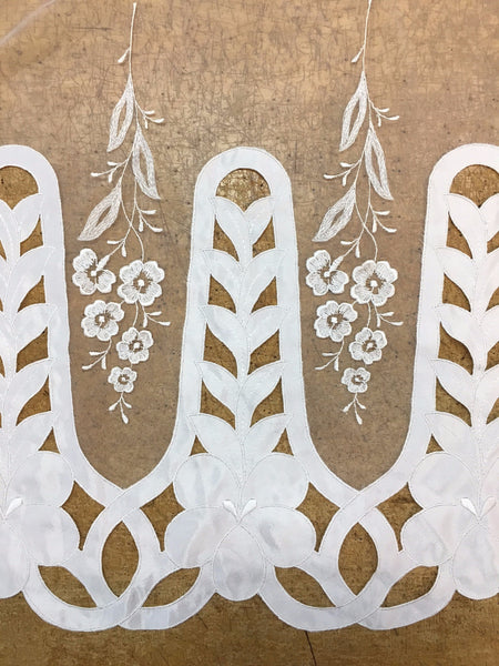 White Chiffon lace with floral embroidery
